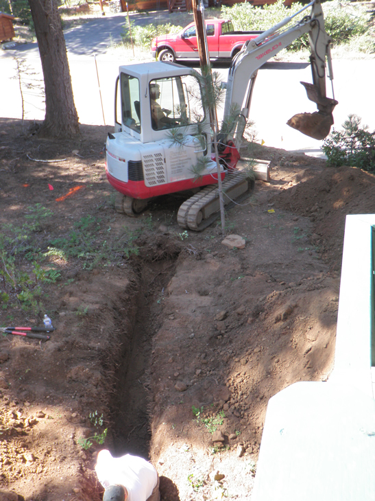 A different machine was used to trench than was used earlier to dig out the stumps