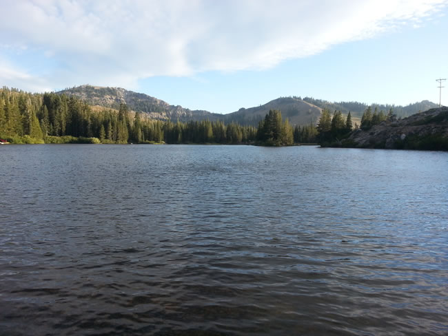 Lake Mary, if you look closely you can see ski lifts on the mountains.