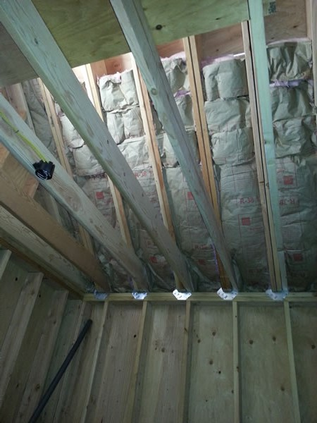 Insulation in the new garage/workshop.