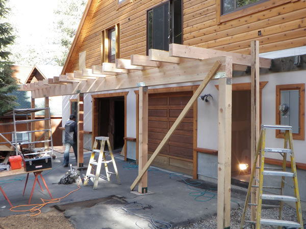 Deck rafters for decking.