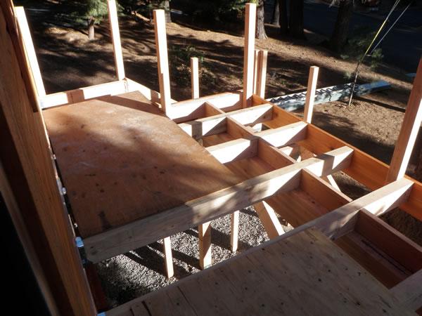 Deck stairway framework built.