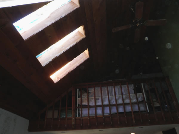 Skylight holes open to the outside.