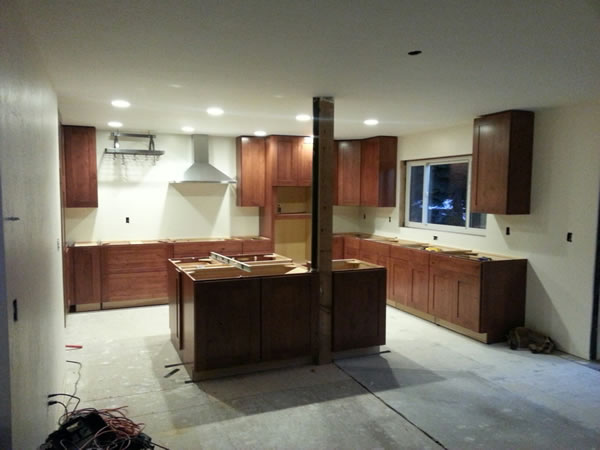 By Oct. 31st, all the cabinets including the island; LED ceiling lights, vent and pot rack were installed.