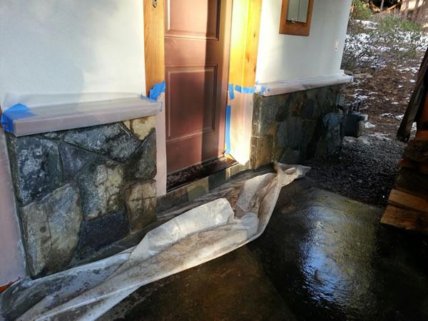 Granite installed around the 1st floor entry door.