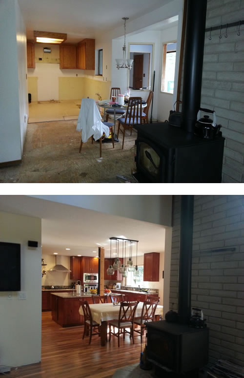 Before and after the remodel