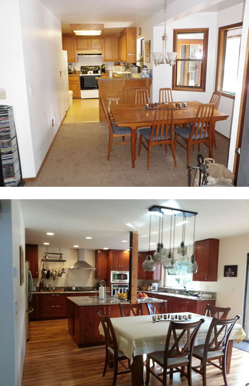 Kitchen & dining area before and after the remodel.