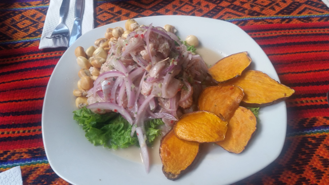 Ceviche, corn and sweet potato crisps