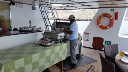 Crew preparing the lunch buffet