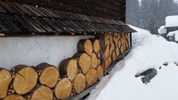 Typical storage for wood rounds along the house