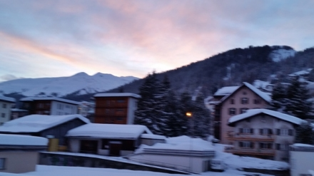 Twilight, walking through town after a day of skiing