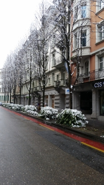 Snow on the narro streets